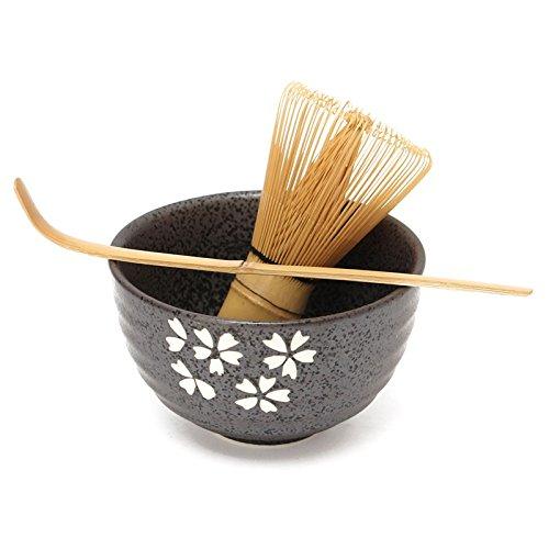 3pcs Sets Tea Ceremony Matcha Ceramic Tea Bowl Bamboo Tea Scoop Matcha Whisk - No4