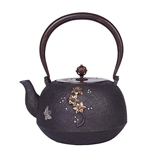 Golden Flower Silver Butterfly Cast Iron Teapot,Flat Bottom Stove Induction Cooker Kettle Tea Set with Ancient Capital Copper HandlePot Lid