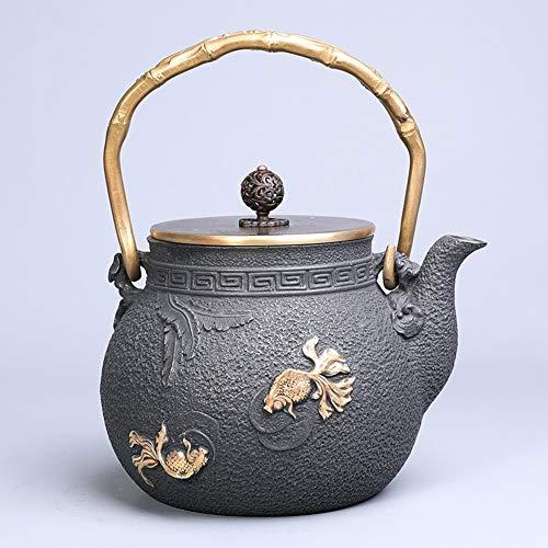 Goldfish Pattern Japanese Cast Iron TeapotsTetsubin Tea Kettle Set with Copper Pot Lid and Anti Rust Enameled Interio