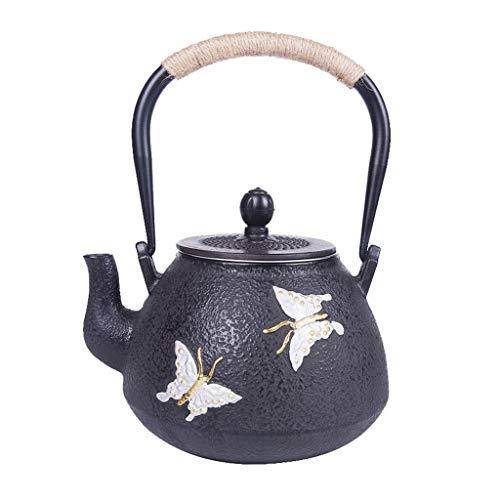 Health pot Cast Iron Teapot Retro Collection High-Strength Tea Kettle Tea Set Gift IdeaButterfly Pattern Color  Black