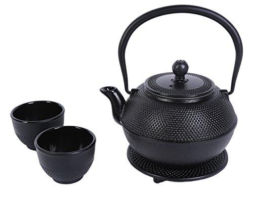 Juvale Black Cast Iron Tea Kettle Set for 2 - Contemporary Dutch Hobnail Design with Trivet Two Cups - 1200 mL