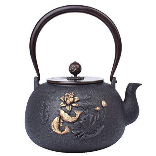 Lotus Pattern Cast Iron Teapot, Japanese-Style Handmade Kettle Tea Set Copper HandleLid Fish,Universal for Stove Size  12L