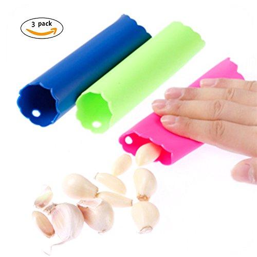 CiCy 3pcs HOT Magic Silicone Garlic Peeler Peeling Press Tube Tool Easy Useful Kitchen Tools Color Random