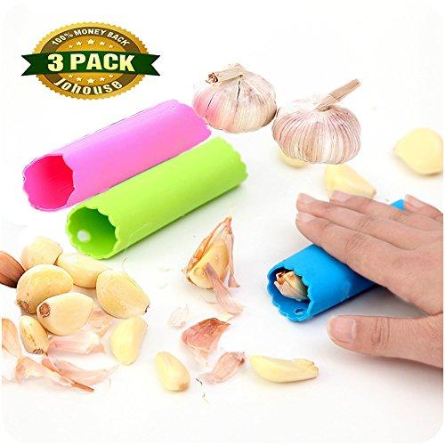 Silicone Garlic Peeler  Silicone Garlic Roller Peeling Tube Tool for Useful Kitchen Tools Random Color 3 PCS