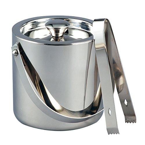 Elegance Stainless Steel Ice Bucket with Tongs 15 quart Silver