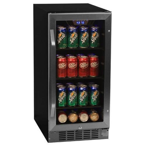 EdgeStar CBR901SG 80 Can 15 Inch Wide Built-In Beverage Cooler - BlackStainless Steel