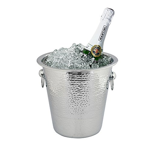 Kosma Stainless Steel Champagne Bucket  Beverage bucket Hammered Finish - 21 x 21cm