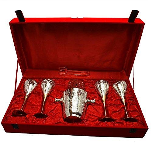 Odna Bichona Silver Plated Royal Brass Wine Glass With Ice Bucket Set Of 4 Pcs 61722x32004x14732 Silver