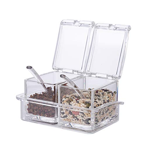 Xena 2 Piece Clear Spice Rack Spice Pot Acrylic Seasoning Box Storage Container Condiment Jar 55 x 4 Inch Cruet Cover Spoon Salt Pepper Organizer Sauces Dressing Holder