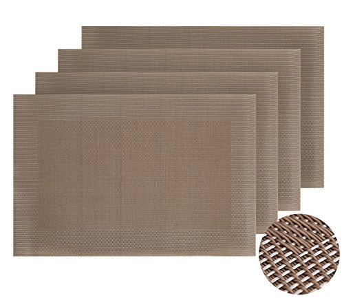 Deconovo Solid Washable Table Placement Double-faced Crossweave Woven Vinyl Placemats Nonslip Place Mats for Table Restaurant 12 W x 18 L Inch Copper Set of 4