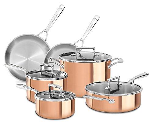 KitchenAid KC2PS10CP 10 Piece Tri-Ply Copper Set Satin Copper Medium