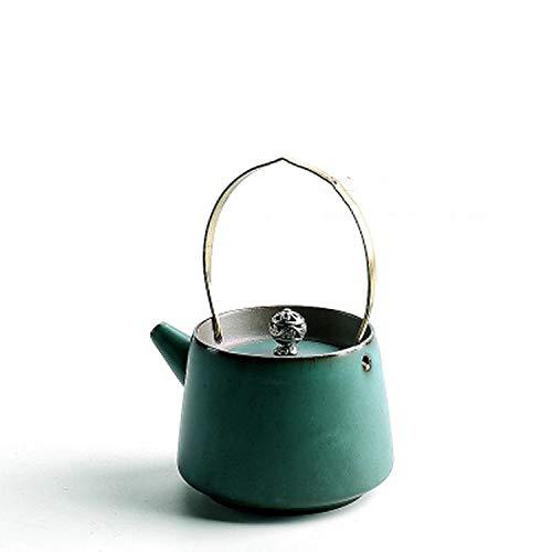 250Ml Ceramic Boil Tea Pot Alcohol Stove Sets Can Cook Tea Kung Fu Tea Sets Retro Teapot KettleGreen