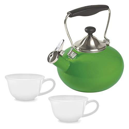 Chantal Bridge Enamel On Steel Teakettle Festive Green with 2-Piece 8-Ounce Tea Lovers Mug White
