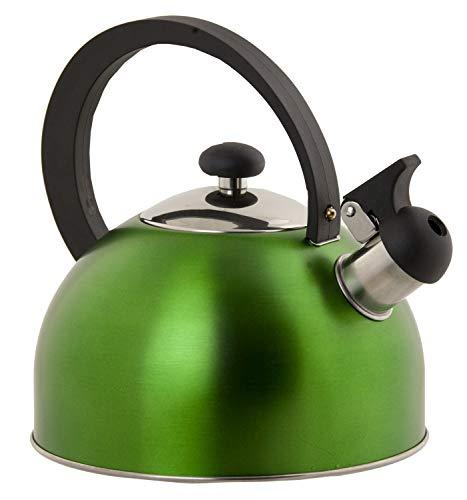 Home Basics 85 oz Stainless Steel Whistling Matte Tea Kettle Green