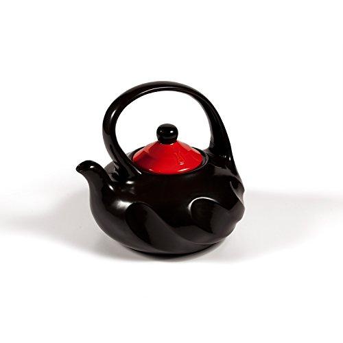 Xtrema- Premium 100 Ceramic Tea Kettle Stove Top - Organic Green All Natural 25 Quart 10 Cup Swirl Black Tea Pot with Colored Lid - Firebrick Red