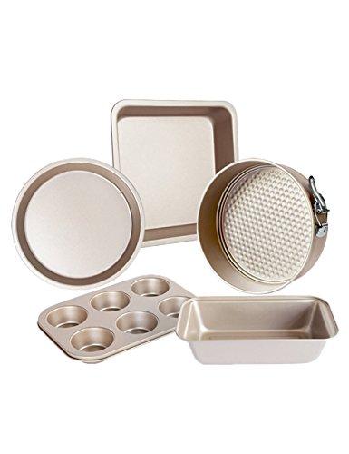 5 Piece Bakeware Set Baking Molds Nonstick Carbon Steel Bakeware Set for Home Kitchen Use Gold
