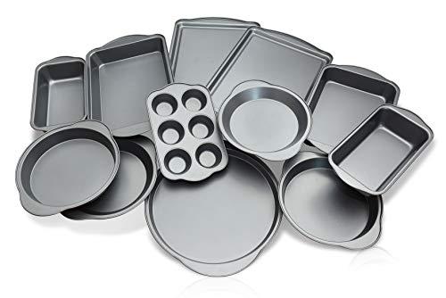 ANYONECANCOOK 12-Piece Set Professional Nonstick Carbon Steel Bakeware  Freezer Safe  Silver Gray