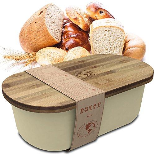 Bread Box Storage Basket  Container Bin with Bonus Bamboo Cutting Board Lid  Eco Friendly Dishwasher Safe Breadbox for Fresh Organized Food