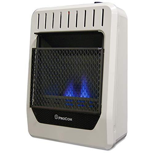 ProCom MG10TBF Ventless Dual Fuel Blue Flame Thermostat Control Wall Heater - 10000 BTU White