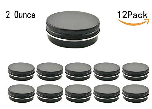 JKLcom 2Oz Aluminum Metal Tin Black Aluminum Tins Round Tin Cans Containers with Screw Top Lid Black 12