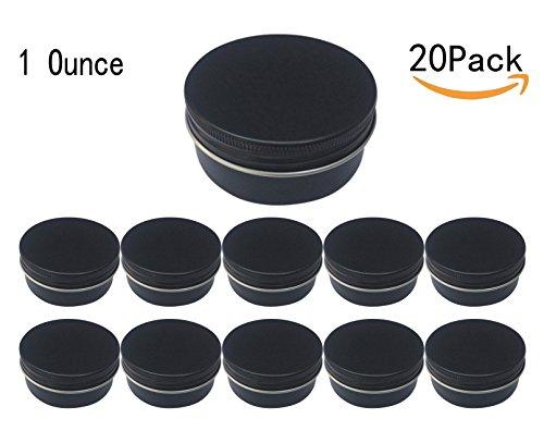 JKLcom Aluminum Metal Tin 1oz30mlBlack Aluminum Tins Round Tin Cans Containers with Screw Top Lid 20