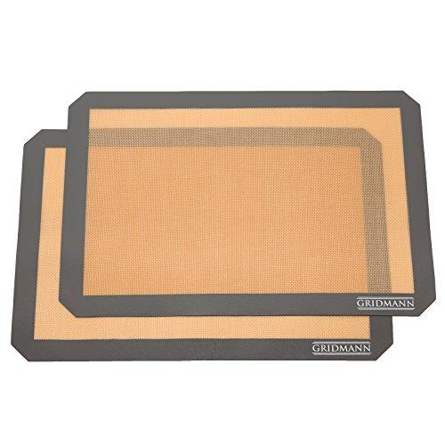 Gridmann Silicone Baking Mats Nonstick Heat Resistent Half Sheet Pan Liners 165 x 116 inch - 2 Pack