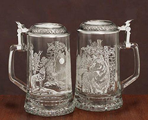 James Meger Glass Timber Wolf Stein German Beer Glass Stein