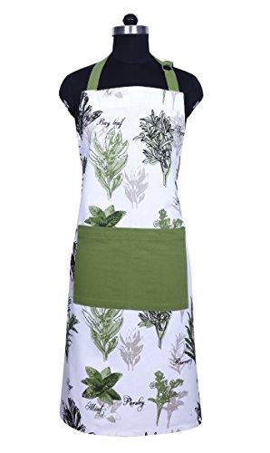 Apron Unique Herb Garden Design Aprons for Women with Pockets 100 Natural Cotton Eco-Friendly Safe Adjustable Neck Waist ties Machine Washable Cute Apron by CASA DECORS