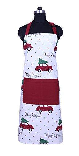 Apron Unique Merry Christmas Design Aprons for Women with Pockets 100 Natural Cotton Eco-Friendly Safe Adjustable Neck Waist ties Machine Washable Cute Apron by CASA DECORS