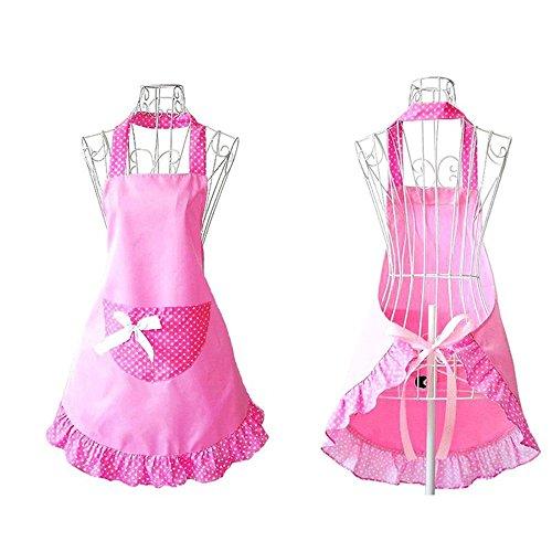 Hanerdun Pastoral Style Womens Apron Ladies Cute Apron Lovely Fancy Maid Set Retro Apron Bowknot Apron With Pocket Christmas Gift Idea