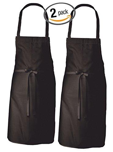Adult Men's Women's Unisex Chefs Adjustable Extra Long Ties professional Commercial Grade Bib Apron - BLACK - 2 PK