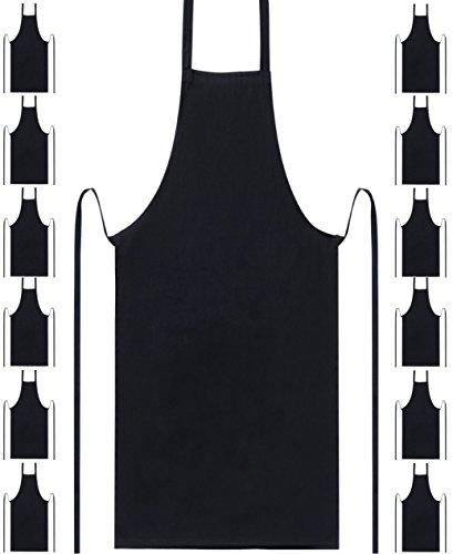Professional Bib Aprons Durable 100 Spun Poly Commercial Restaurant Kitchen Apron 12 Black