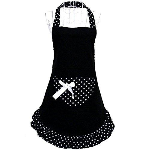 HANERDUN Pastoral Style Ladies Apron Dress Girls Cute Polka Dot Apron with Pocket Fashion Vintage Kitchen Apron for Women Lovely Retro Cooking Apron for Housewife Gift Idea