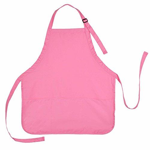 Apron Commercial Restaurant Home Bib Spun Poly Cotton Kitchen Aprons 3 Pockets 1 Pink
