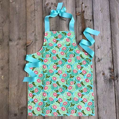 Handmade Aqua and Pink Apron for Tween Girls