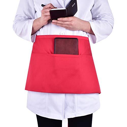 PANDAMED SCRUBS Waist Apron with 3 Pockets - Waitress Waiter Server Half Short Aprons Kitchen Restaurant for Women Men Server 24 X 12 for Holding Server Book Guest Check Card Holder JYA702 Red