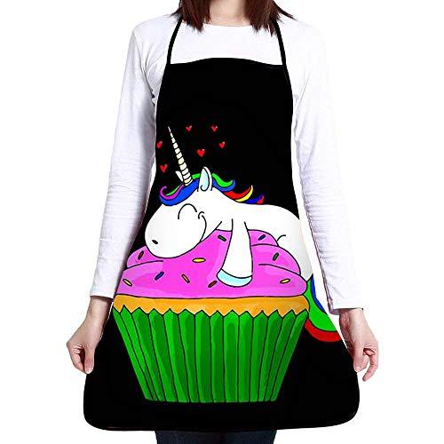 Feddiy Aprons for Women Men Girls - Custom Cooking Waist Chef BBQ Adjustable Waterproof Apron Unicorn Cupcake