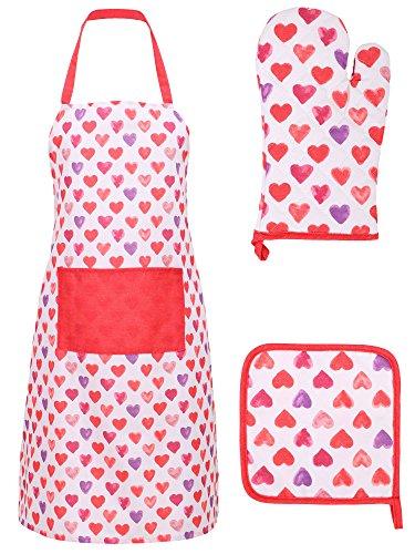 Chef Apron Basic Cotton Kitchen Apron Glove and Potholder SetI Love You - Multi