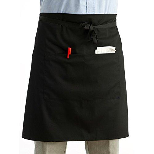 ROSENICE Waist Apron 2 Pockets Server Aprons Kitchen Cooking Short Apron Waiter Apron in Black