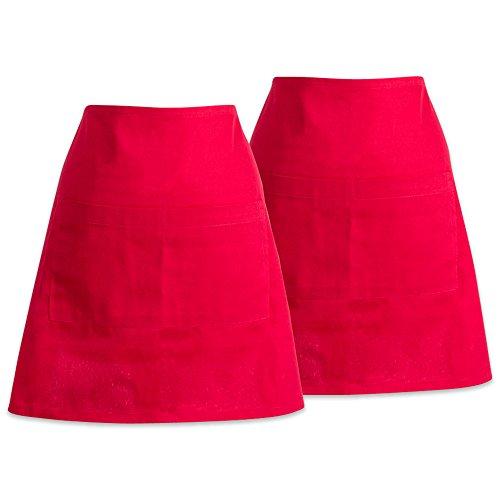DII Cotton Commercial 2 Pockets Waist Half Apron 28 x 18 Set of 2 Money Half Apron for Waitress Waiter Bartender Restaurant Bar Cafe Coffee Shop-Tango Red