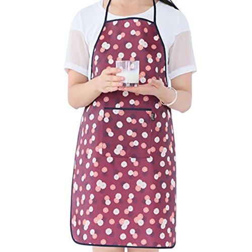 TMJJ Women PVC Waterproof Oilproof Apron for Home Kitchen GardenRed Flower