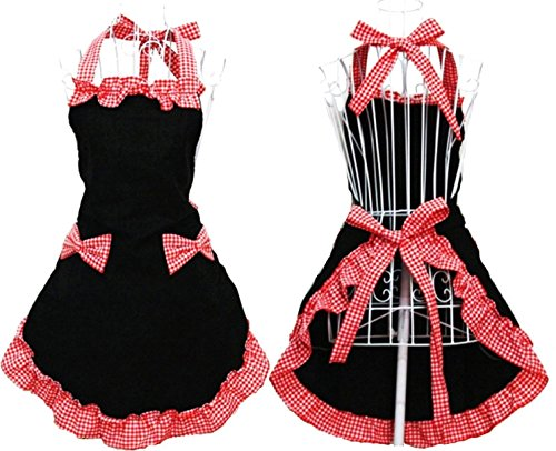Syncmarket Kitchen Apron Cute Retro Lovely Vintage Ladys Kitchen Fashion Flirty Womens Aprons with Pockets Black Red Patterns for Mother Day Valentine Crafts Cooking Cotton Adjustable