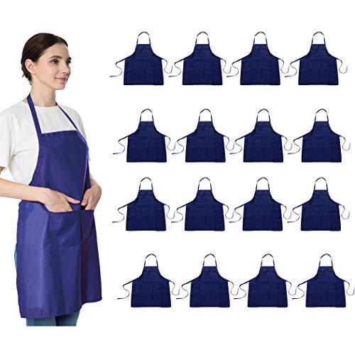 LOYHUANG Blue Aprons Bulk for Women Girls with 2 Pockets-Chef Restaurant Kitchen Plain Aprons Art Artist Painting Cooking Grilling Kitchen Apron 16 Dark Blue-16pcs
