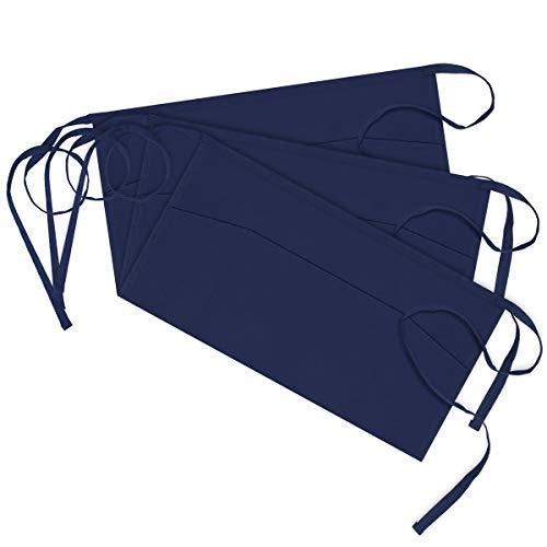 Syntus 3 Pack 3 Pockets 100 Cotton Waitress Waist Apron115-inch Nautical Blue