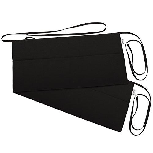 3 Pockets Waist Apron Pack of 2 - Waitresses apron Kitchen apron Black apron - by Rmeny Black