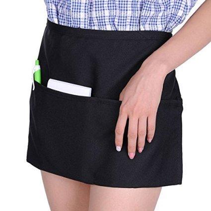 5pcs 12 inch Black Waist Apron with 3 Pocket for Servers Waiters Waitres