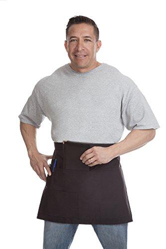 Restaurant Bistro Waiter Waitress Black Waist Apron Short Length with Multiple Pockets