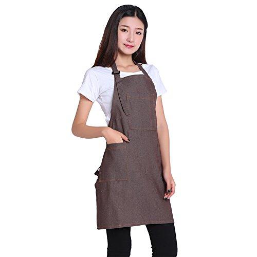 DRELK Adjustable Denim Jean Aprons with 3 Pockets for Women Men Chef Barista Bartender Painter in Cooking Kitchen Bistro CafeDenim JeanCoffeeOne Size