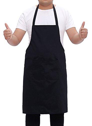 HEWIC Handmade Polyester Cotton Apron Long Ties 2 Packet Kitchen Cooking Bib For Women Men Home Restaurant Baking Gardening 271x315 Black