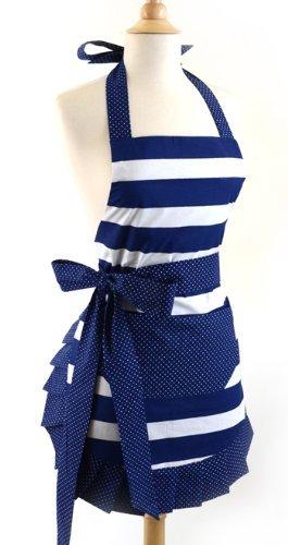 FASHION ALICE Womens Original Apron Nautical Navy Stripe apronChef Kitchen Apron Machine Washable Great Hostess Gift Cooking or Baking Apron with Pockets